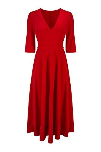 Beauty7 Vestidos Largo Hepburn Recto 1950s Profundo V Cuello Mangas Midi Atada a la Cintura Elasticidad Dress Falda Coctel Ceremonia Trabajo Casual Invierno Ocasionales Negro Blanco Rojo Rojo