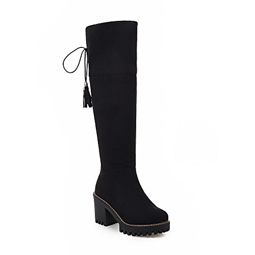 Knee Heels Boots Suede Lace Womens High AIWEIYi Black Boots Square up Faux High Thigh High xRZBYXq1w