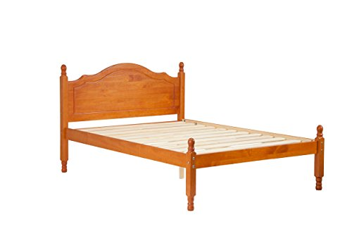 "100% Solid Wood Reston Full Panel Headboard Platform Bed by Palace Imports, Honey Pine Color, 40.5""H x 57""W x 80""L, 12 Slats Included. Optional Trundle, Drawers, Rail Guard Sold Separately. Requires Assembly (Solid Wood Headboards)"