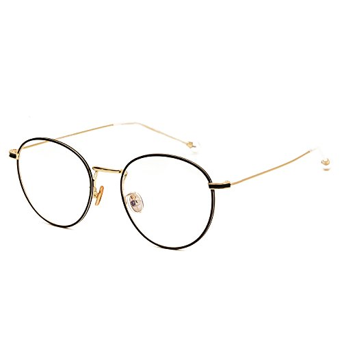 Langford Retro Round Frame Glasses 52 mm Clear Plastic Lens For Women Diamond, With Case And Cleaning Cloth 4 Colors 10028