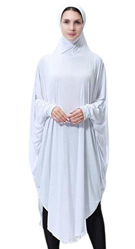 Casual Women One Fashion Pendulum Hijab Big Alion Muslim Loose Dress in White Two fYdw4Pq