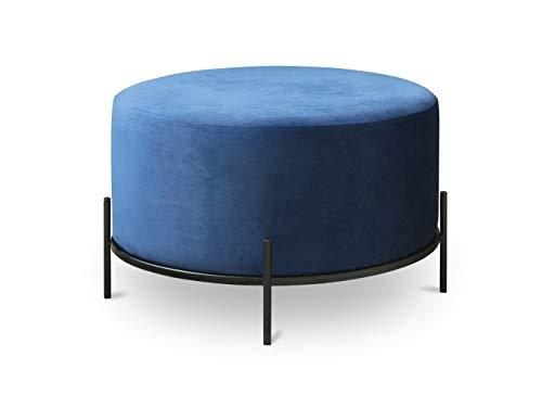 LIFA LIVING Pouf Salon Rond, Repose Pied en Velours Bleu et Bordure en Metal Noir, Tabouret Design 35 x Ø55 cm