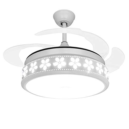 (COLORLED 42 inch Led Ceiling Fans with Remote 36W Three Changing Light Color Retractable Blades of Crystal Flower Ceiling Fan Chandelier -for Indoor, Outdoor, Living room, Corridor, Dining Room-White)