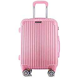 Aishanghuayi Trolley case, Luggage extendable Luggage PC + ABS Built-in TSA Lock Color, Black, Size (34 22 47) cm (Color : Pink, Size : 171024 inch)
