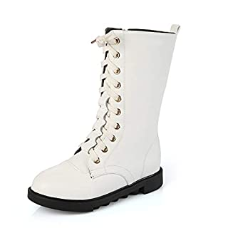Smart.A Girls Leather Lace-Up Zipper Mid Calf Combat Riding Winter Boots(White EU 31/13 M US Little Kid) (B07J9RFVYC)   Amazon price tracker / tracking, Amazon price history charts, Amazon price watches, Amazon price drop alerts