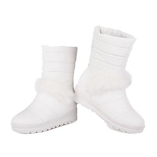 AllhqFashion Mujeres Sin cordones Tacón Medio Pu Sólido Caña Baja Botas Blanco