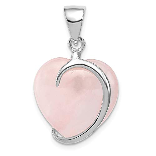 (925 Sterling Silver Rose Quartz Pendant Charm Necklace Gemstone Fine Jewelry Gifts For Women For Her)