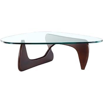Gentil EMODERN FURNITURE EMod   Noguchi Coffee Table Glass Top Dark Walnut