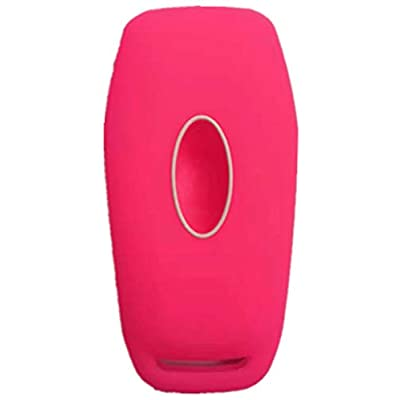 RUNZUIE Silicone Keyless Entry Remote Key Fob Cover Case Protector Fit for Ford Fusion F-150 Mustang Lincoln Edge MKZ MKC (Rose 5 Buttons): Automotive