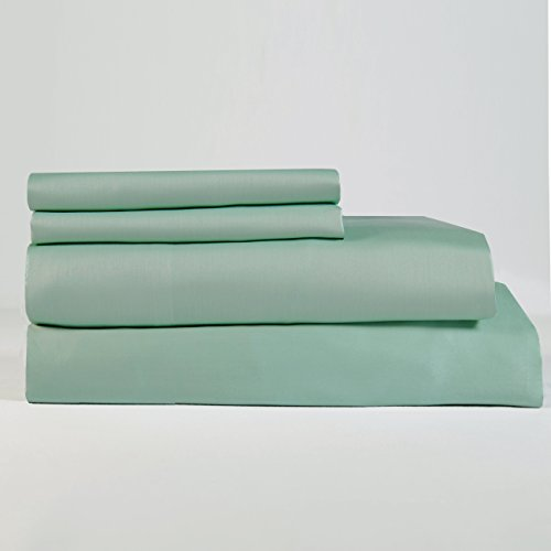Lavish Lux Bedding 300 Thread Count 100 % Cotton Sateen Weave Silky Soft 4 PC Full Sheet Set - 2 Pillowcases, 1 Flat Sheet and 1 Fitted Sheet, Queen, Aqua