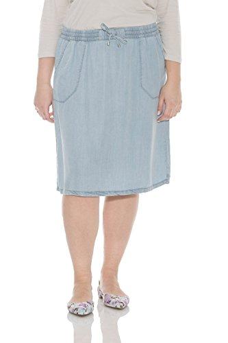 Esteez Denim Knee Length Skirt for Women 100% Tencel Savannah Bleach X-Large