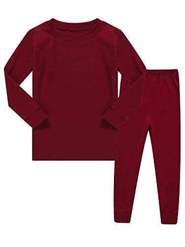 Kids Pajamas Boys & Girls Solid Colors 2 Piece Pajama Set 100% Cotton Red Size 10
