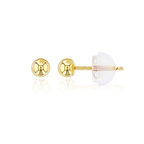 18k Gold Ball Earrings (10K Yellow Gold 3mm Ball Stud Earring)