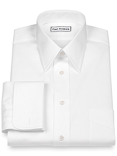 French Cuff Oxford Oxford Shirt - Paul Fredrick Men's Slim Fit Pinpoint Straight Collar French Cuff White 16.5/32