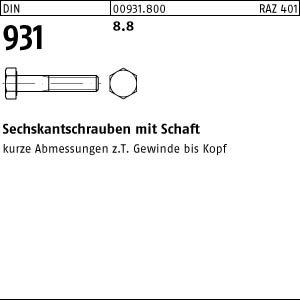 50 Sechskantschrauben DIN 931 8.8 schwarz M12x70