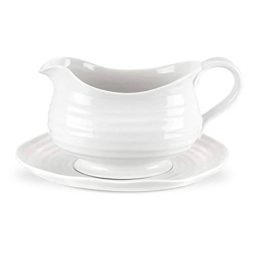 (Portmeirion Sophie Conran White Gravy Boat and Stand)