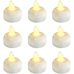 24 Pack Waterproof Led Floating Candles, Flickering Tea Lights, Battery Operated Tealights for Pool, Centerpiece, Wedding, Party, Warm White Light