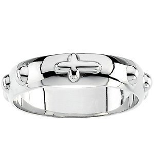 4.75mm Sterling Silver Cross Rosary Ring, Size 8 by The Men's Jewelry Store