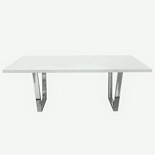 Mirage Rectangular Table - Mirage Rectangular Dining Table w/ White Lacquer Top and Chrome Base , Included TABLE TOP, TABLE BASE by Diamond Sofa - # MIRAGEDTWH