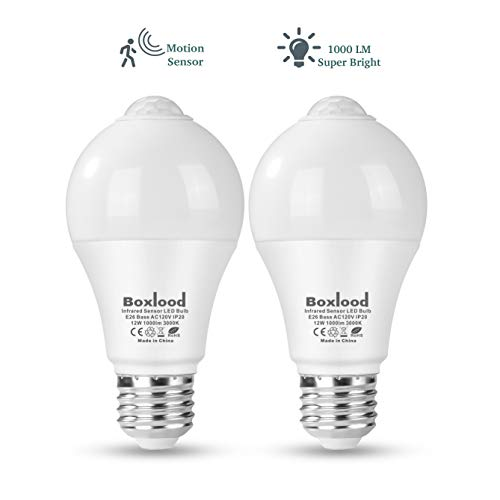 - Boxlood 12W Motion Sensor Light Bulb, Indoor Movement Activated Security LED Bulb Lamp, 1000LM(100W Halogen Equivalent), A19, E26, 3000K Warm White for Front Door,Basement,Stairs,Porch-2PACK