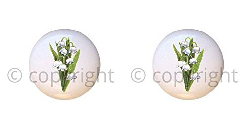 SET OF 2 KNOBS - Lily of the Valley Flower - Wildflowers Wild Flowers - DECORATIVE Glossy CERAMIC Cupboard Cabinet PULLS Dresser Drawer KNOBS (Wildflowers Knob)