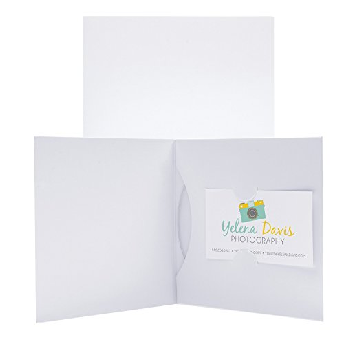 Paper CD or DVD and Business Card Holder Sleeve - 100 Pack (White) Cards White Business Card Discs
