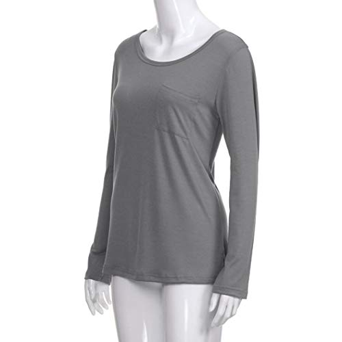 Aimee7 Casual T Camicetta Pocket Manico Top Soild Grigio Daily Shirt Donna Lungo O1OxXBw