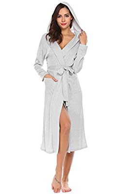 Nessere Bathrobes For Women With Hood Sleeping Robe With Belt Front Pocket Long Sleeve