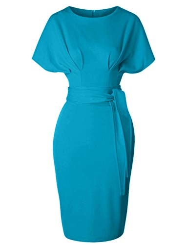 GownTown Women's 50s 60s Vintage Sexy Fitted Office Pencil Dress Seagreen ()