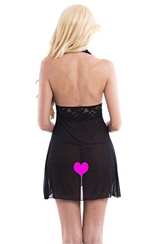 Aivelays Mujer Vestido Pijama Corto Encaje Lencería Set Black