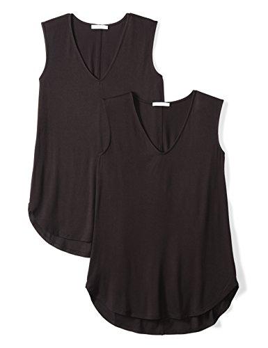 Daily Ritual Women's Jersey V-Neck Tank Top, 2-Pack, M, Black/Black