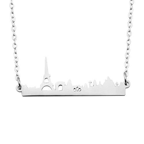 bobauna Paris City Skyline Bar Pendant Necklace France Eiffel Tower Souvenir Gift for Traveler (Paris Skyline Necklace)