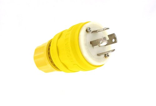 Leviton 26W09 20 Amp, 120/208 Volt, 3 Phase Y, Locking Plug, Industrial Grade, Non-Grounding, Wetguard, Yellow