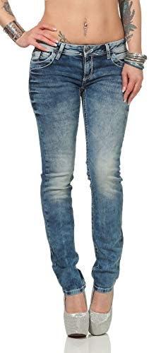 Cipo & Baxx Damen Jeans Regular Fit mit weißen Kontrastnähten