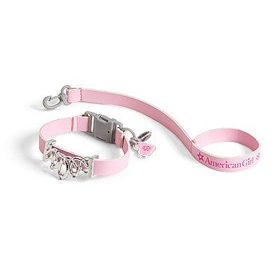 New American Girl doll's Pet Pink Jeweled Collar & Leash~Dog