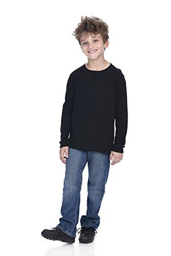 Boys Cashmere Sweater - State Cashmere Kids Soft Touch Crew Neck Long Sleeve Cotton Cashmere Sweatshirt Black