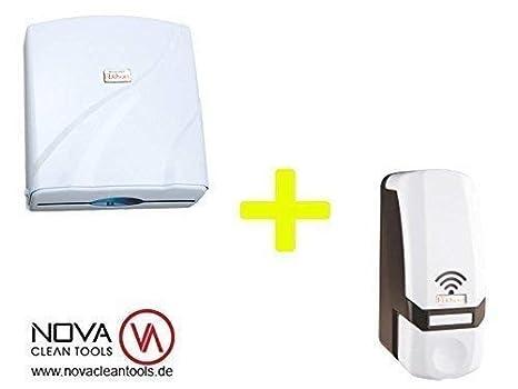 Nova de papel con diseño de toallas de mano dispensador de papel para dispensador de toallas de mano dispensador de + dispensador de espuma de 700 ml: ...