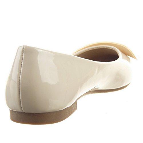 Sopily - Scarpe da Moda ballerina alla caviglia donna lucide Tacco a blocco 1 CM - Beige