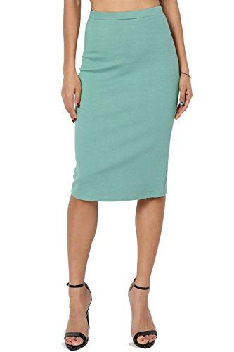 TheMogan Women's Basic Stretch Thick Ponte Knit Pencil Midi Skirt Ash Mint L