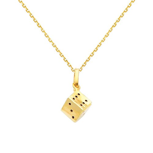14k Gold Dice Charm - Wellingsale 14k Yellow Gold Polished Dice Charm Pendant with 0.9mm Oval Angled Cut Cable Chain Necklace - 20