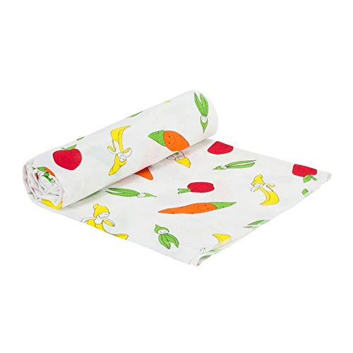 - Under the Nile Organic Cotton Unisex Baby Fruit and Veggie Print Muslin Swaddle Blanket