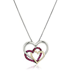 Sterling Silver and 14k Yellow Gold Triple Heart Created Ruby Pendant Necklace, 18""