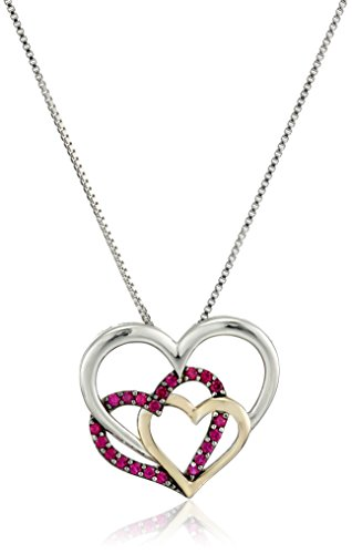 """Sterling Silver and 14k Yellow Gold Triple Heart Created Ruby Pendant Necklace, 18"""""""