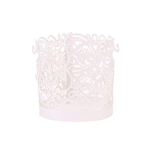 Votive Candle Wraps - Asenart Flameless Tea Light Votive Wrap Candle Holder Set (50 Pack) LED Battery Tealight Candles (Not Included) (White)