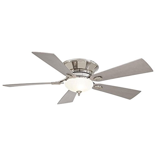 Minka Aire F711-PN Delano – 52 Flush Mount Ceiling Fan, Polished Nickel Finish with Silver Blade Finish with White Frosted Glass