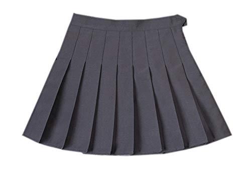 Betusline Women's Pleated Skort Skirt, Uniform School Cosplay Costume Pleated Mini Short Skort Skirt for Women & Teen Girls, Dark Gray, US X-Small (0) = Tag S