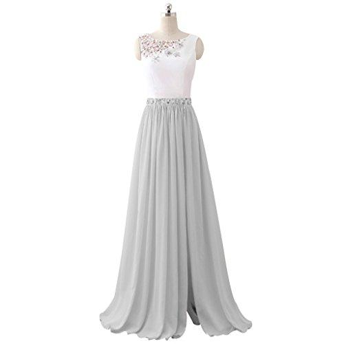 Annies Mariée Robe De Bal De Demoiselle D'honneur Robe De Mousseline De Perles Bijoux De Robe De Soirée Gris Ligne
