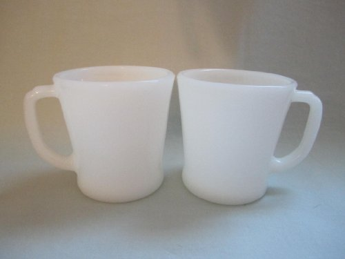 Set of 2 - Vintage Anchor Hocking Fire-King Milk Glass D Handle Mug Cups -