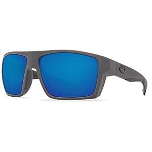 Costa Del Mar Bloke 580P Bloke, Matte Gray Matte Black Blue Mirror, Blue Mirror