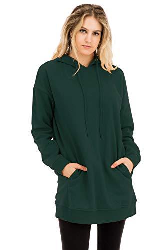 NANAVA Women's Casual Loose Fit Long Sleeve Over-Sized Sweatshirts Hunter Green L/XL